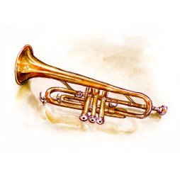 Day 4 - #WorldWatercolorGroup Musical Instrument Brass Trumpet - #doodlewash