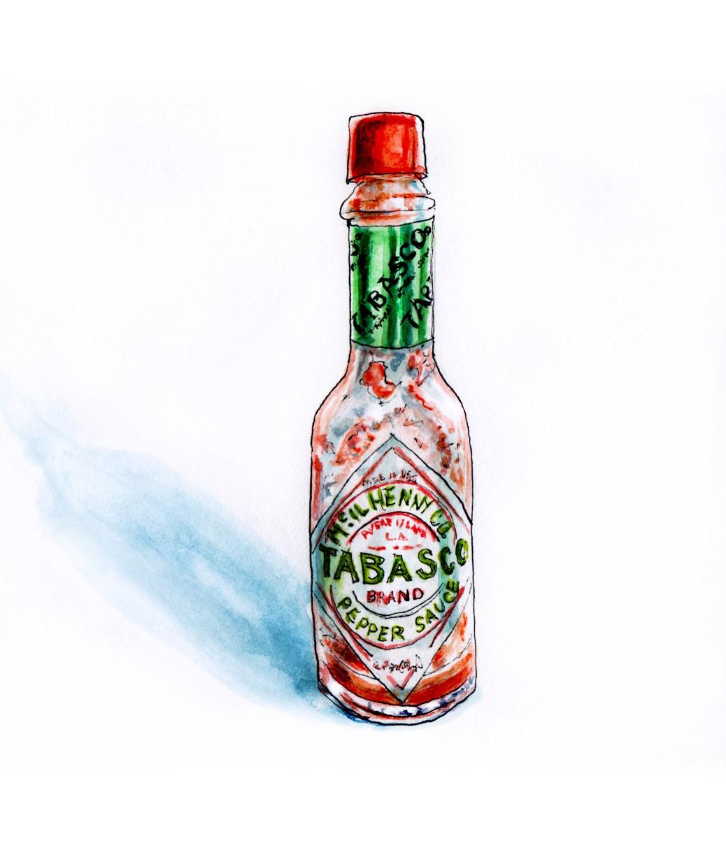 #WorldWatercolorGroup - Tabasco Hot Pepper Sauce Bottle Watercolor - #doodlewash