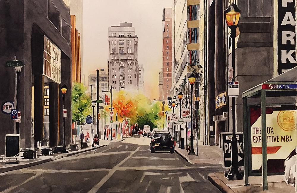 #WorldWatercolorGroup - Watercolor painting of 18th Street Philadelphia (Philly) by Ellie Moniz - #doodlewash