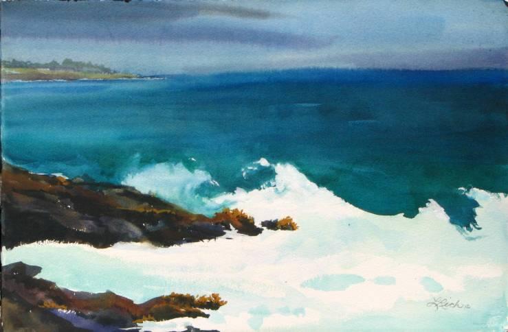 #WorldWatercolorGroup - Watercolor waves by Leslie Rich - #doodlewash