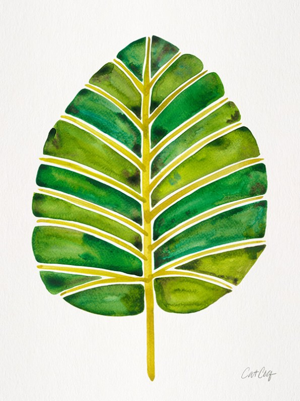 #WorldWatercolorGroup - Watercolor Art by Cat Coquillette - Green Alocasia Leaf - #doodlewash