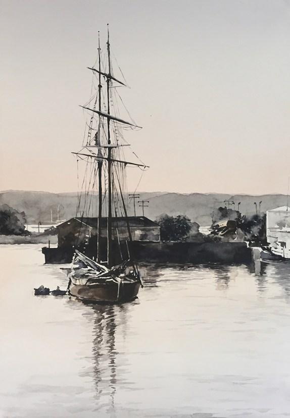 #WorldWatercolorGroup - Watercolor painting of ship by Ellie Moniz - #doodlewash