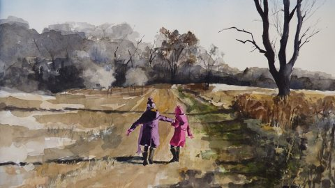 #WorldWatercolorGroup - Watercolor painting of little girls on trail by Ellie Moniz - #doodlewash