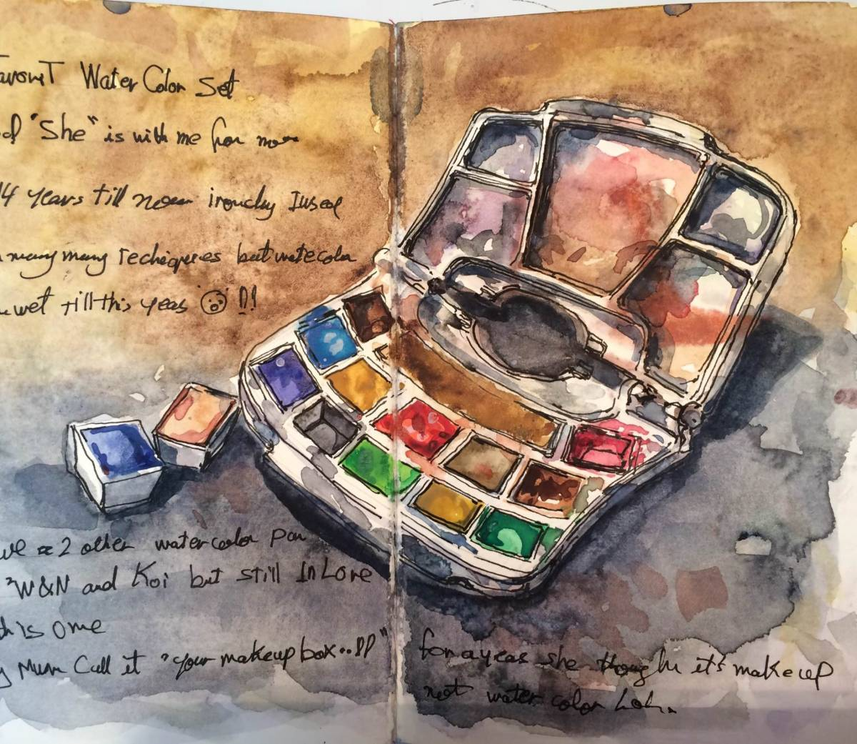 #WorldWatercolorGroup - Watercolor Sketch by Reham Moniem Ali in Egypt of watercolor palette - #doodlewash #urbansketchers #usk
