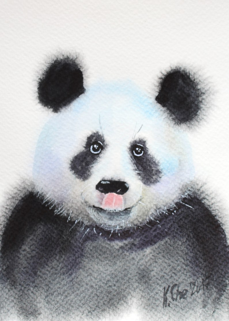 #WorldWatercolorGroup - Watercolor by Katiya Che of panda - #doodlewash