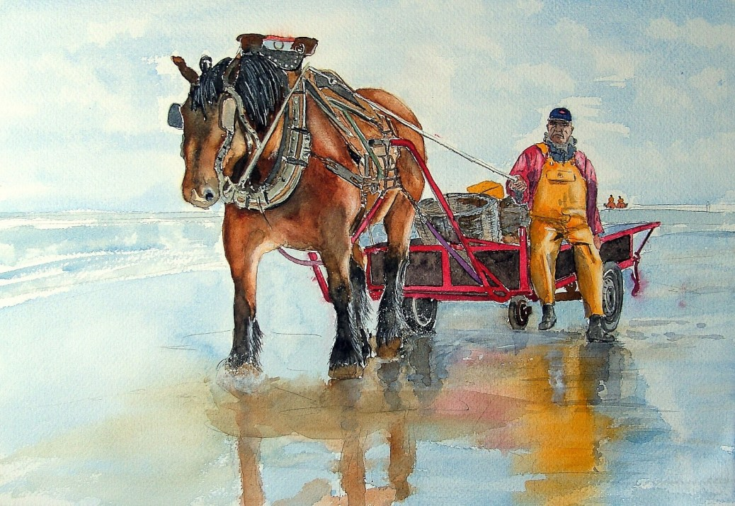 #WorldWatercolorGroup - Painting of horse and cart by Joaquim Tusch - #doodlewash