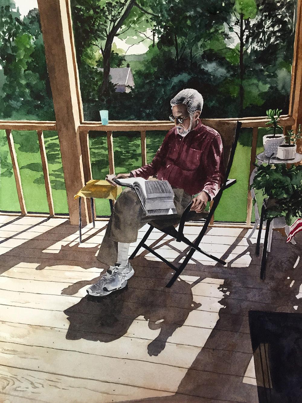 #WorldWatercolorGroup - Watercolor painting of man reading book by Ellie Moniz - #doodlewash