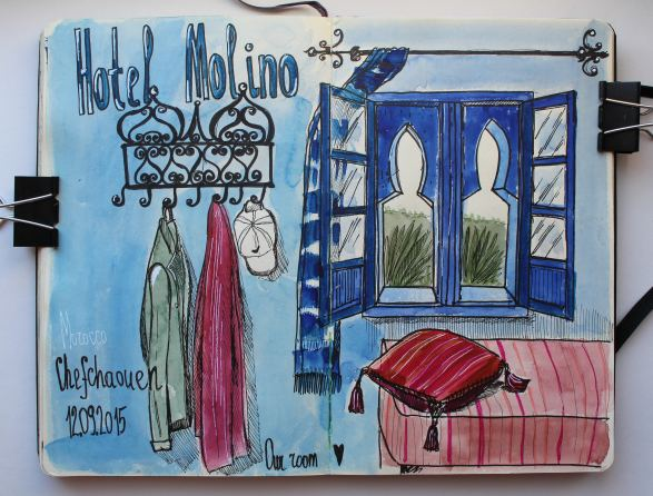 #WorldWatercolorGroup - Watercolor by Katiya Che of sketchbook Hotel Molino - #doodlewash