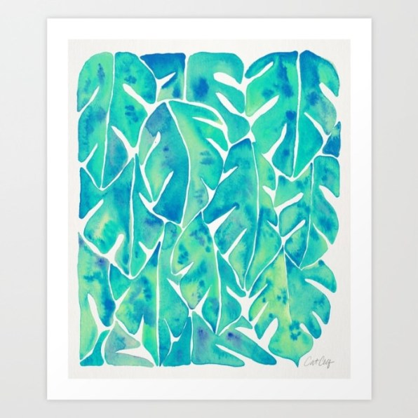 #WorldWatercolorGroup - Watercolor Art by Cat Coquillette - Split Leaf Philodendron Turquoise Art Print - #doodlewash