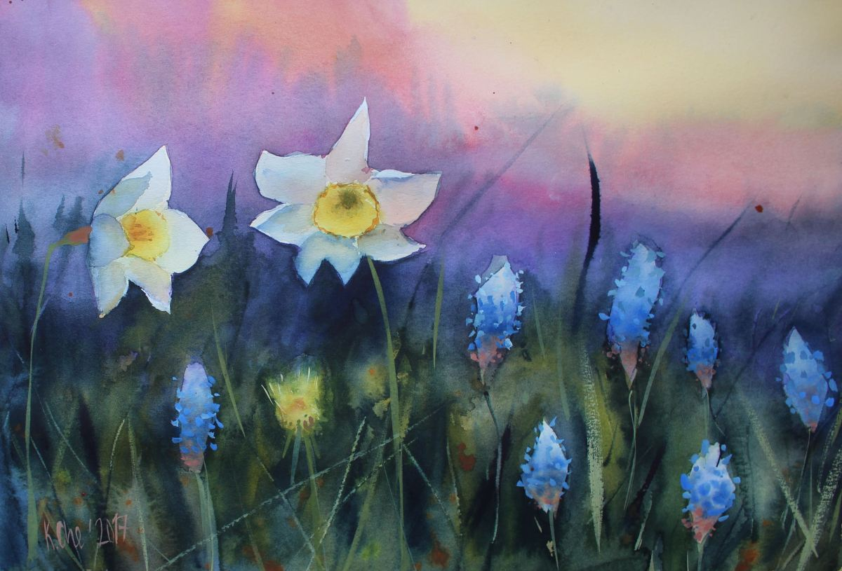 #WorldWatercolorGroup - Watercolor by Katiya Che of daffodils - #doodlewash