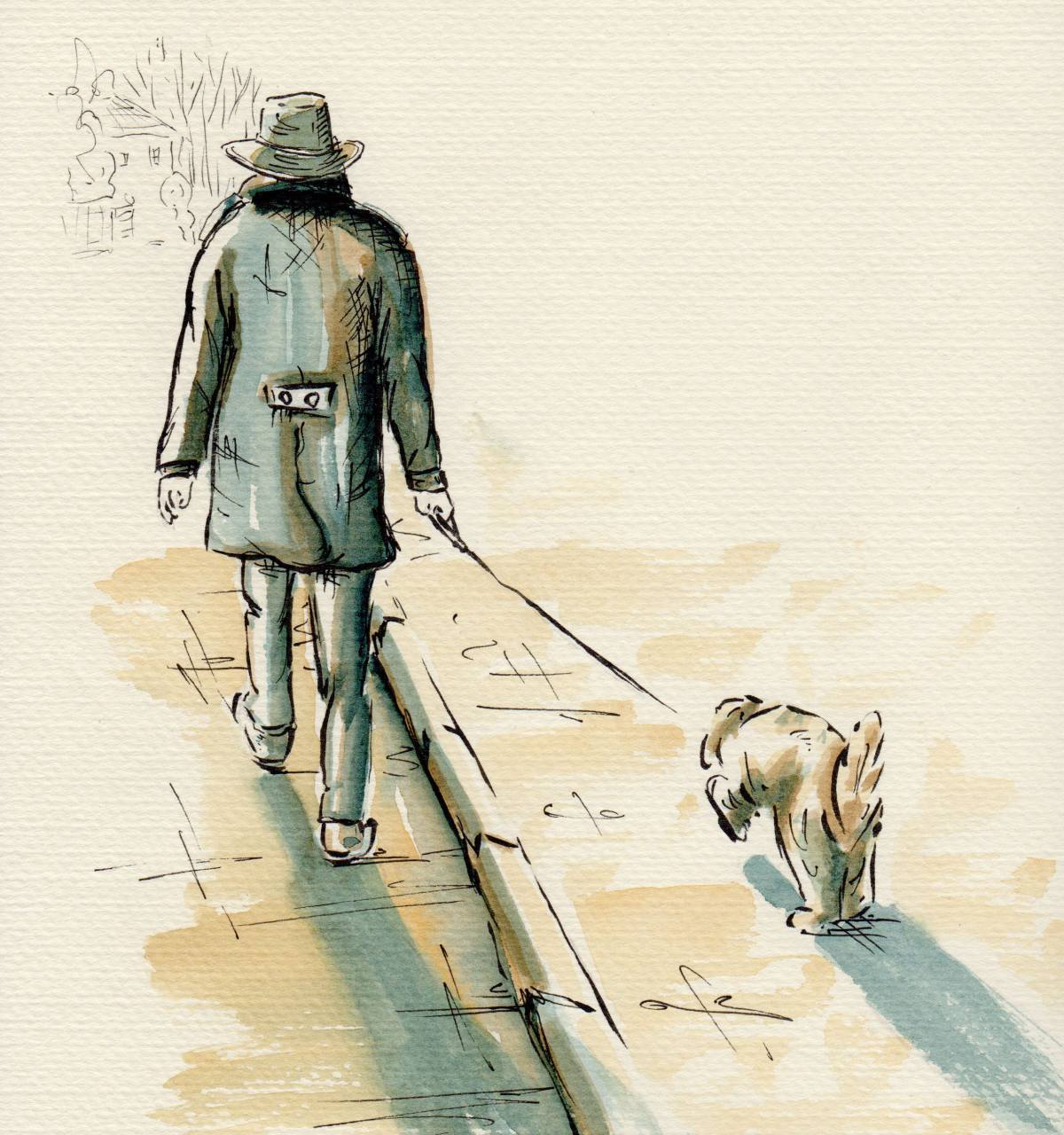 #WorldWatercolorGroup - Watercolor illustration by Patricia Mellett Brown - man and dog - #doodlewash