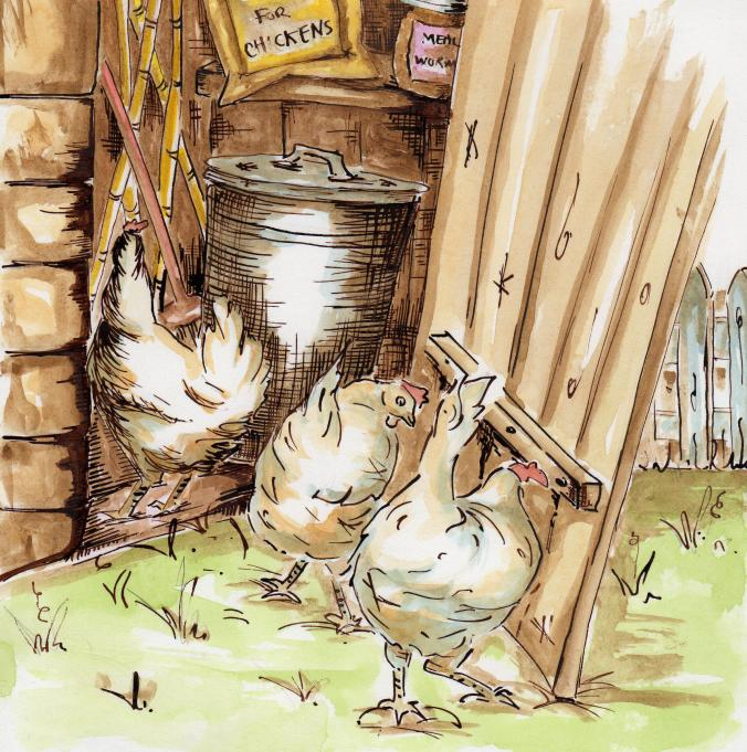 #WorldWatercolorGroup - Watercolor illustration by Patricia Mellett Brown - chicken shed - #doodlewash