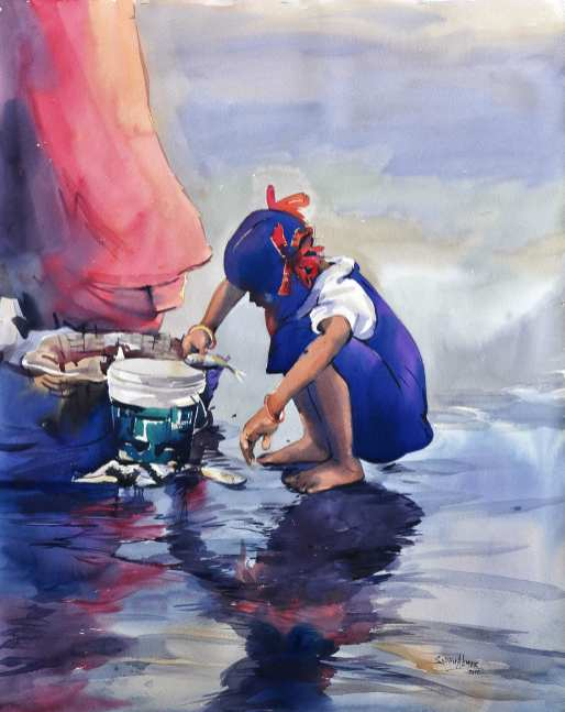 #WorldWatercolorGroup - Watercolor painting by Sadhu Aliyur - childhood - #doodlewash