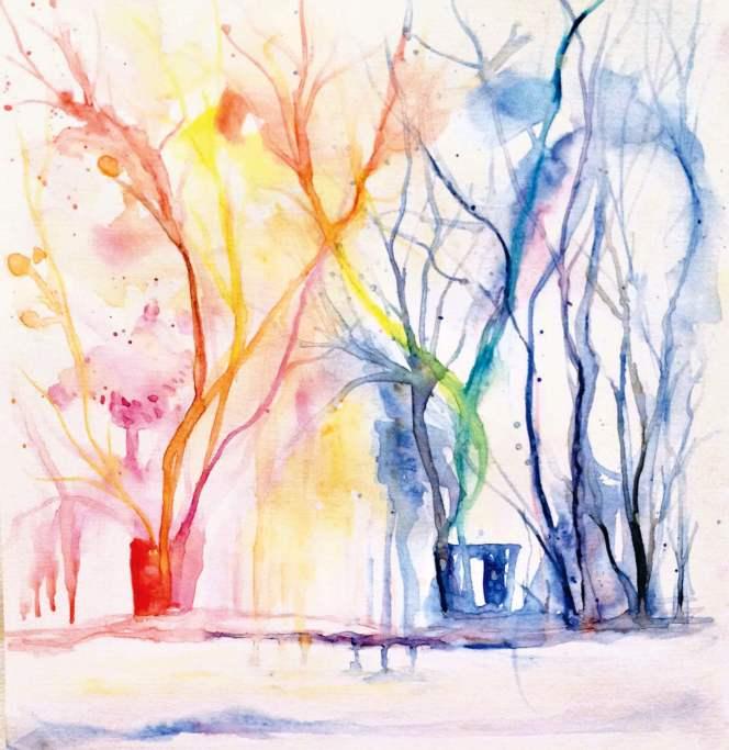 #WorldWatercolorGroup - Watercolor by Elisa Choi Ang - trees - #doodlewash