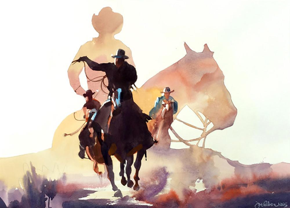 #WorldWatercolorGroup - Cowboy's Dream - Watercolor Painting by Joe Cibere - #doodlewash