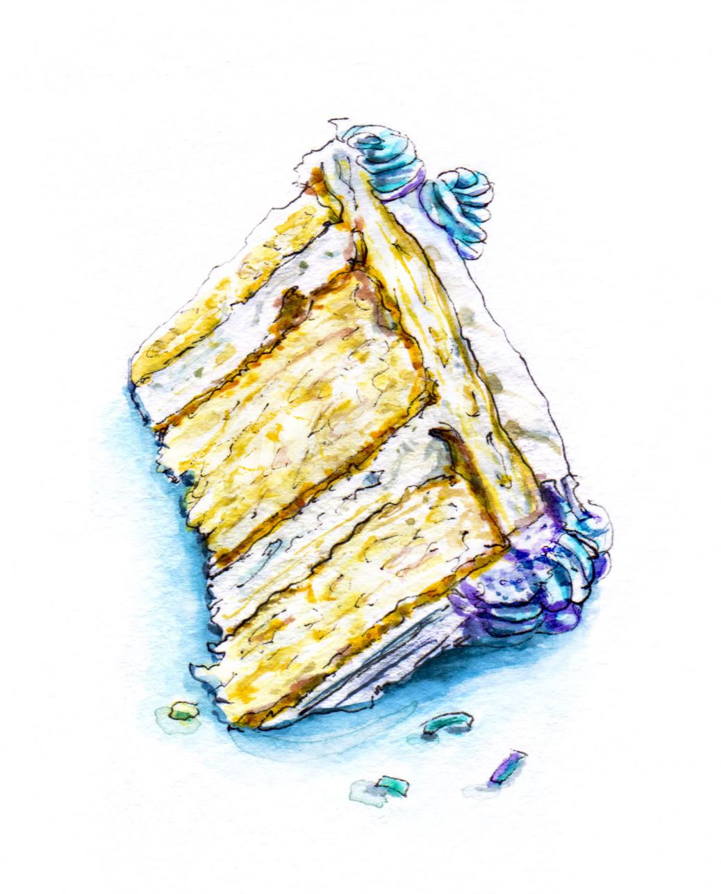 Day 13 - #WorldWatercolorGroup - Birthday Cake Slice Watercolor - #doodlewash