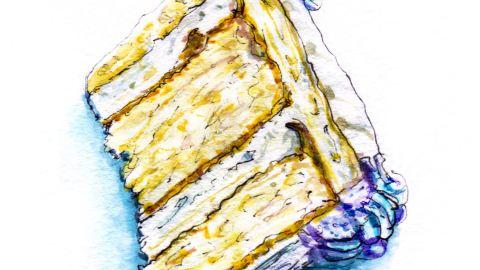 Day 13 - #WorldWatercolorGroup - Birthday Cake Slice Watercolor - #doodlewash