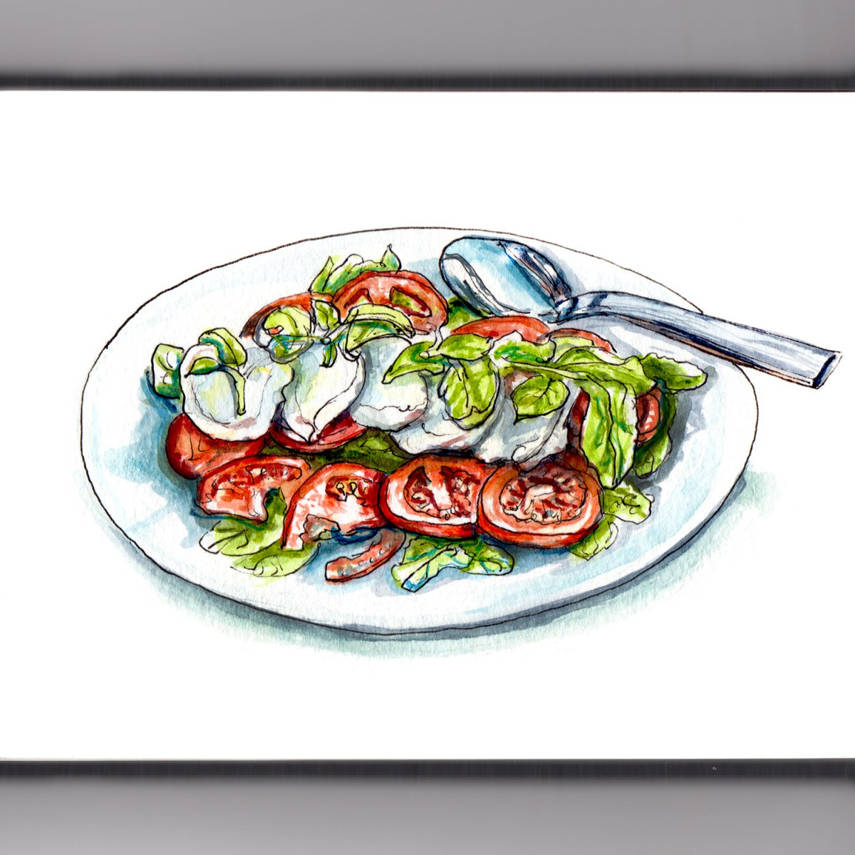 Day 19 - #WorldWatercolorGroup - Salad Season - Caprese Salad With Tomatoes Mozarella and Basil - #doodlewash