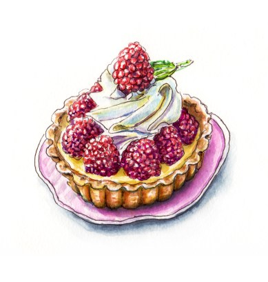 Day 2 - #WorldWatercolorGroup For The Love Of Custard - Raspberry Tart - #doodlewash