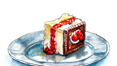 Day 28 - A Small Piece of Layer Cake With Chocolate and Berries - #doodlewash