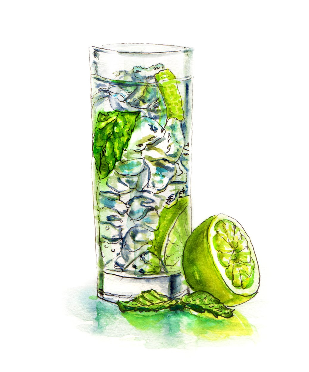 Day 29 - #WorldWatercolorGroup - Limes and Ice With Glass and Mint Mohito - #doodlewash