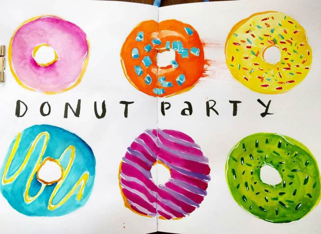 #WorldWatercolorGroup - Watercolor sketch by Volta Voloshin-Smith of Color Snack - Donut Party - #doodlewash