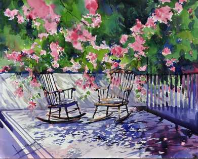 #WorldWatercolorGroup - Watercolor painting by Sadhu Aliyur - flowers and chairs - #doodlewash