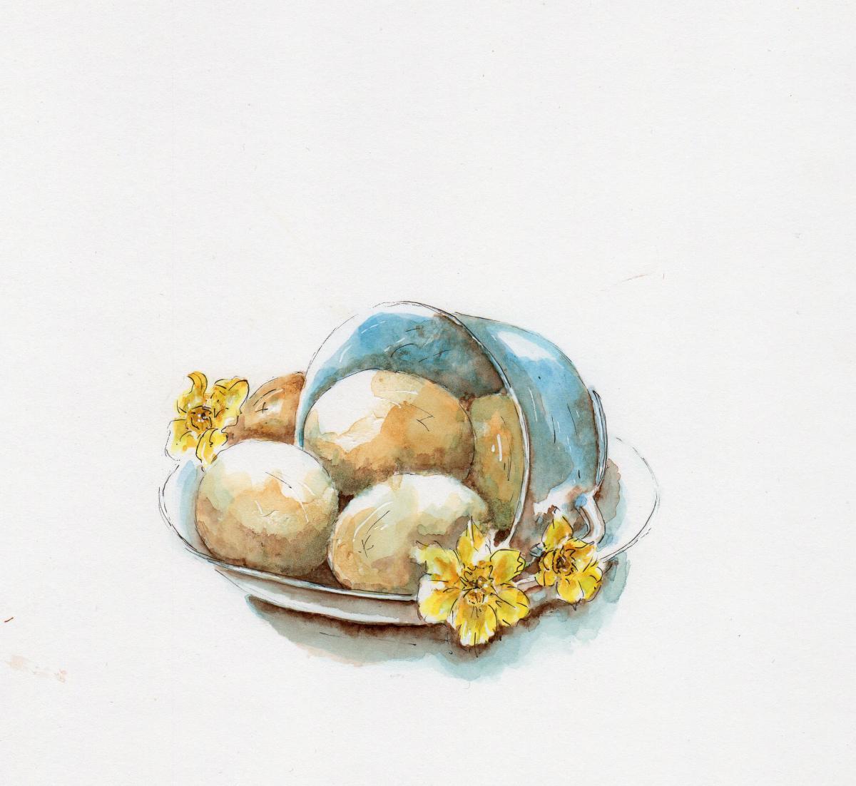#WorldWatercolorGroup - Watercolor illustration by Patricia Mellett Brown - eggs - #doodlewash