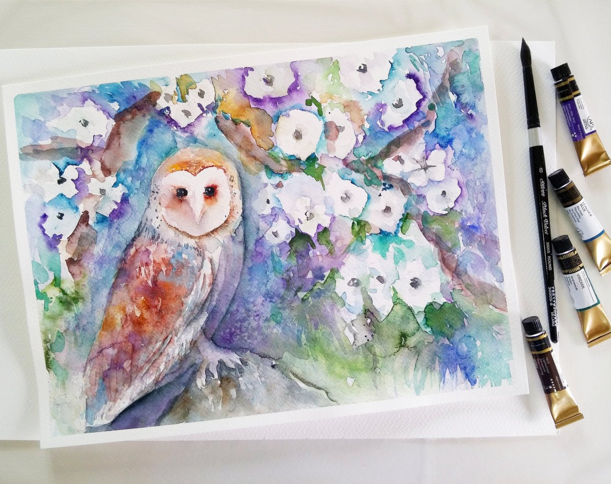 #WorldWatercolorGroup - watercolor owl by Cheryl Sun-Ong - #doodlewash