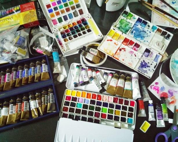 #WorldWatercolorGroup - watercolor supplies of Cheryl Sun-Ong - #doodlewash