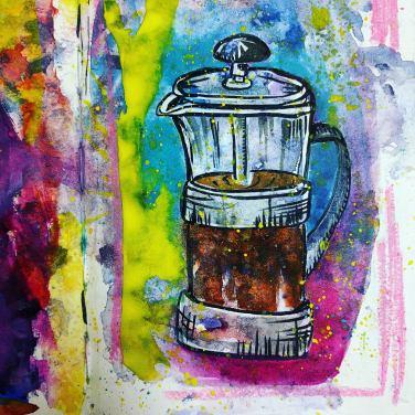 #WorldWatercolorGroup - Watercolor sketch by Volta Voloshin-Smith of Color Snack - Coffee Press - #doodlewash