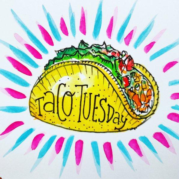 #WorldWatercolorGroup - Watercolor sketch by Volta Voloshin-Smith of Color Snack - Taco Tuesday - #doodlewash