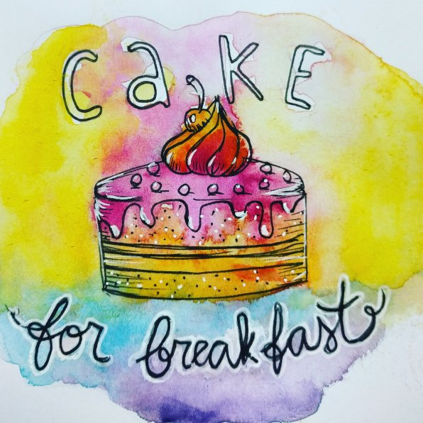 #WorldWatercolorGroup - Watercolor sketch by Volta Voloshin-Smith of Color Snack - Cake For Breakfast - #doodlewash