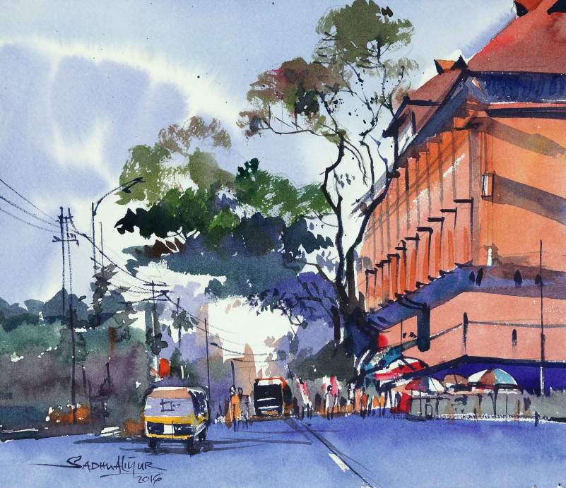 #WorldWatercolorGroup - Watercolor painting by Sadhu Aliyur - Kerala - #doodlewash
