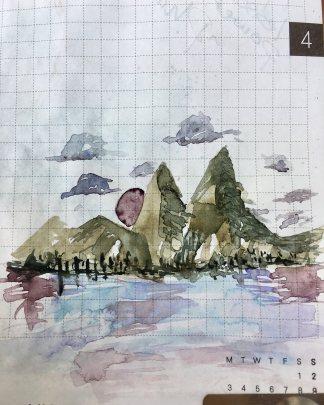 Boku-Undo E-Sumi Watercolor Paint 6 Colors Set watercolour box watercolor painting by jessica seacrest in a hobonichi techo planner, tomoe river paper