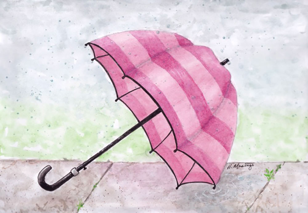 #WorldWatercolorGroup - Watercolor by Heather Musingo of umbrella - #doodlewash