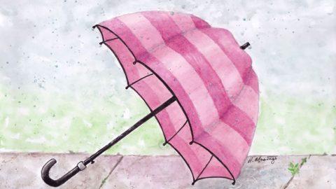 #WorldWatercolorGroup - Watercolor by Heather Musingo of umbrella - #doodlewash