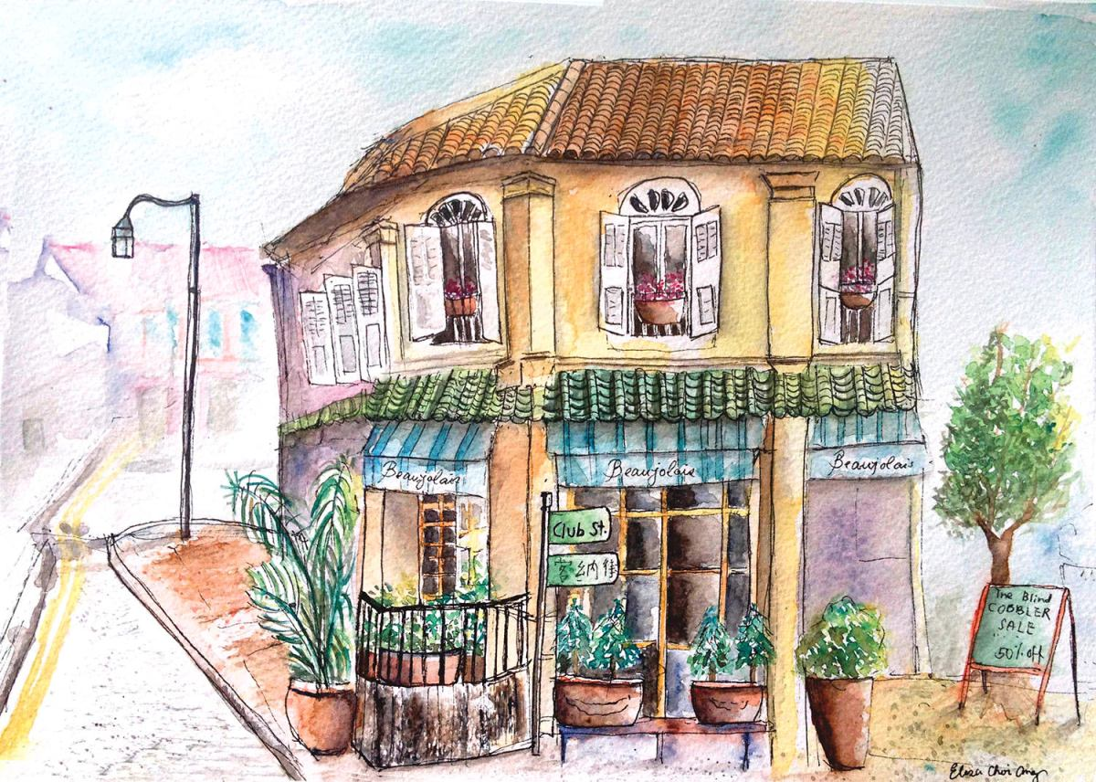 #WorldWatercolorGroup - Watercolor by Elisa Choi Ang - cafe - #doodlewash
