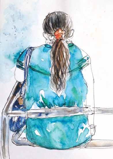 #WorldWatercolorGroup - Watercolor by Elisa Choi Ang - woman sitting - #doodlewash