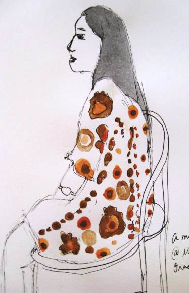 #WorldWatercolorGroup - Watercolor by Elisa Choi Ang - seated woman - #doodlewash