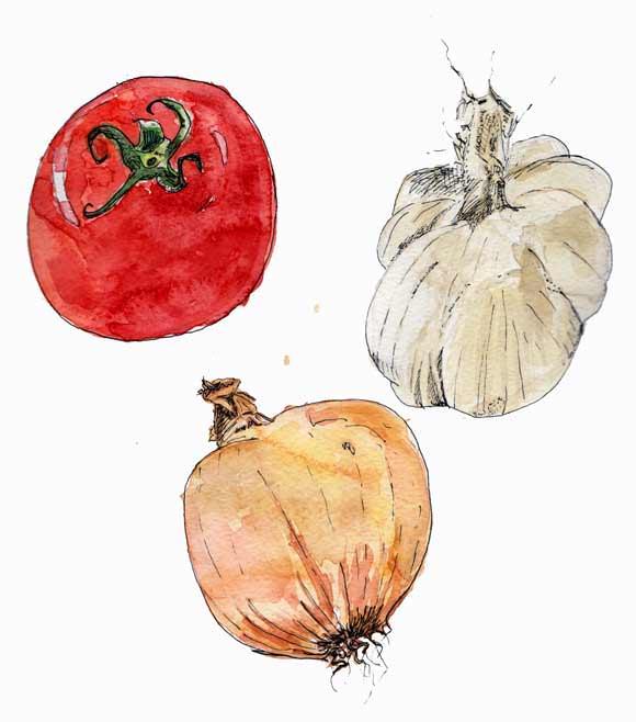 #WorldWatercolorGroup - Watercolor by Tim Soekkha of vegetables - #doodlewash