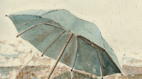 #WorldWatercolorGroup - Watercolor illustration by Patricia Mellett Brown - umbrella - #doodlewash
