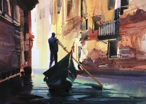 #WorldWatercolorGroup - Watercolor Painting by Joe Cibere - Venice - #doodlewash