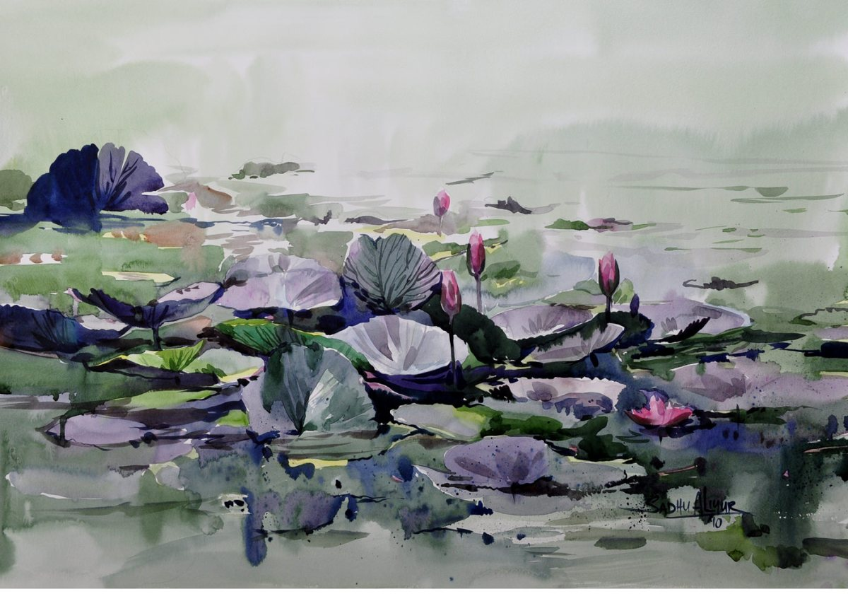 #WorldWatercolorGroup - Watercolor painting by Sadhu Aliyur - water lilies - #doodlewash