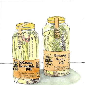 #WorldWatercolorGroup - Watercolor by Cynthia Morris - jars of pickles- #doodlewash