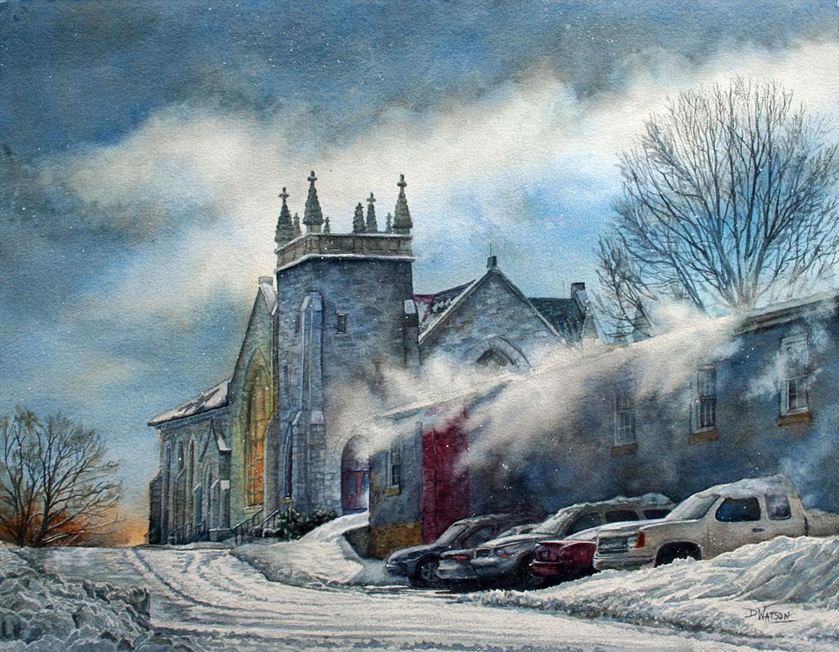 #WorldWatercolorGroup - Watercolor painting by Deb Watson - blowing snow - #doodlewash