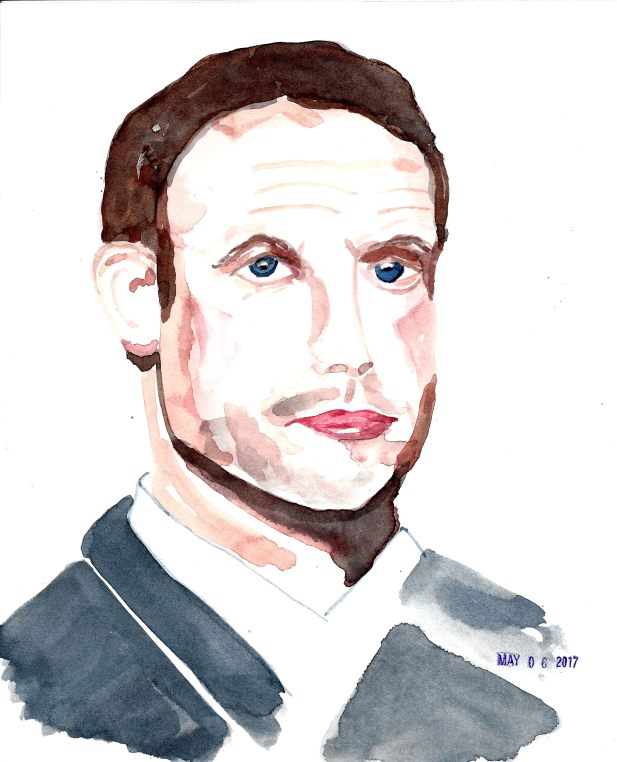 #WorldWatercolorGroup - Watercolor by Cynthia Morris - Portrait of Macron - #doodlewash