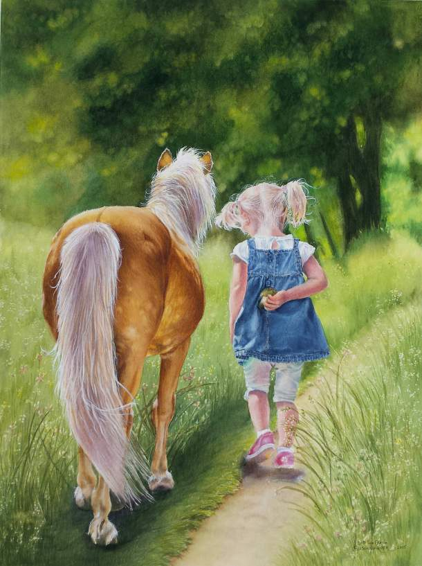 #WorldWatercolorGroup - Watercolor by Susan Walsh Harper - Cream Colored Ponies - little girl and horse - #doodlewash