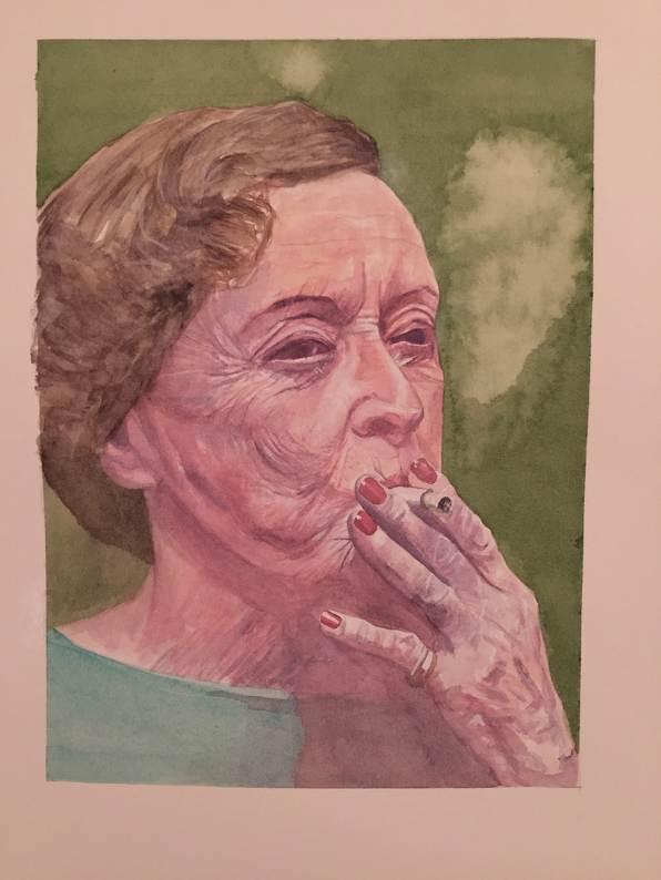 #WorldWatercolorGroup - Watercolour by Ian Probert - portrait of woman smoking - #doodlewash