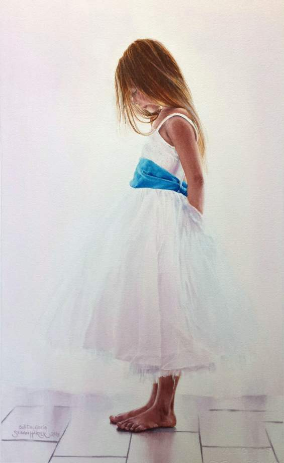 #WorldWatercolorGroup - Watercolor by Susan Walsh Harper - Girl In White Dresses With Blue Satin Sashes - #doodlewash